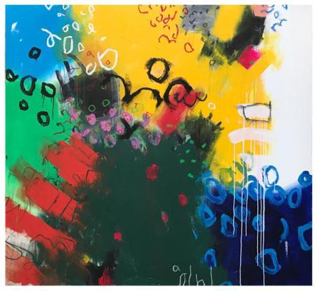 "acrylic, oil pastel on canvas | 61"" x 66"" | $5250"