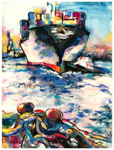"""watercolor, pastel on paper   30"""" x 22""""   $795"""
