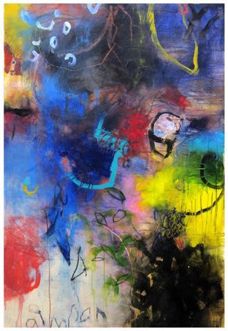 "acrylic, pencil on canvas | 51""h x 35""w | SOLD"