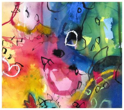 """watercolor, pastel, ink on paper 