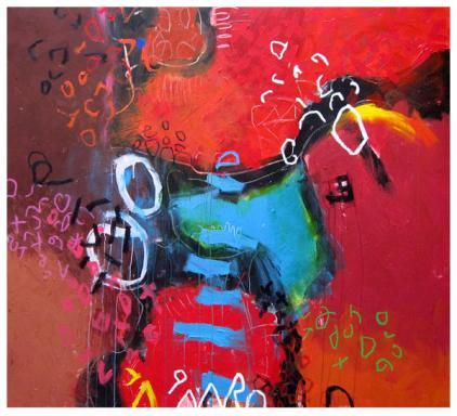 "acrylic, pencil on canvas   60""h x 64""w   $5000"
