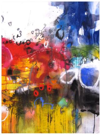 """watercolor, pastel on paper   30"""" x 22""""   SOLD"""