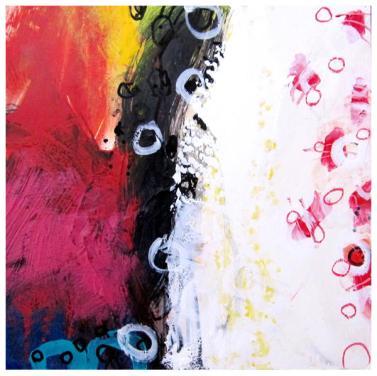 "acrylic, oil pastel on clayboard   10"" x 10""   $130"