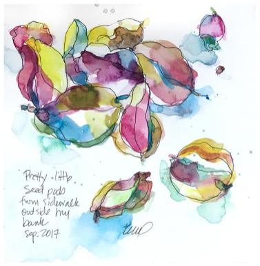 """watercolor, ink on paper   8"""" x 8""""   $80"""