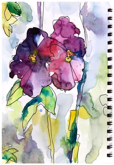 watercolor, pen sketch   SOLD
