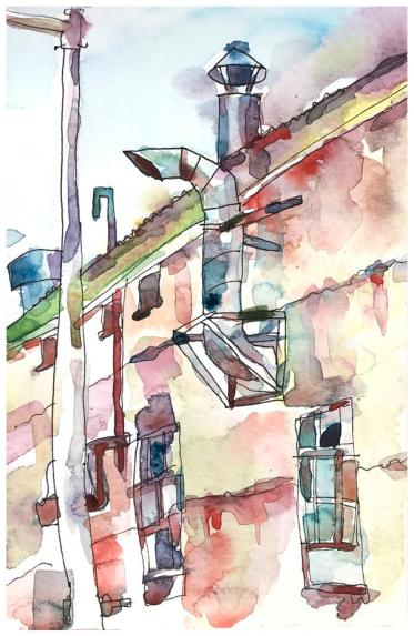 """watercolor, pencil on paper   8"""" x 5""""   $50"""