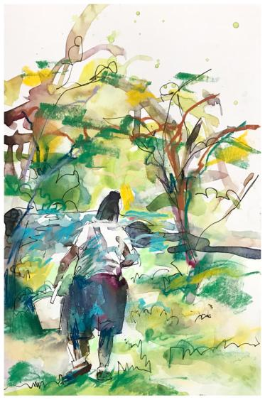 "watercolor, pen, pastel on paper   7"" x 10""   SOLD"