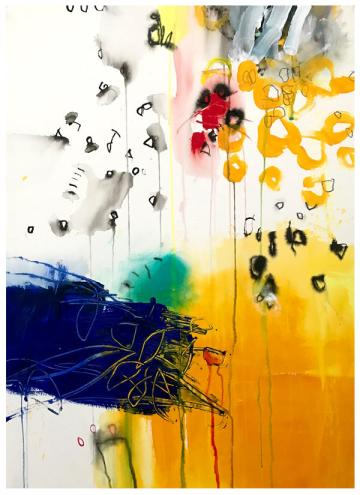 """acrylic, ink, oil pastel, pencil on paper   30"""" x 22""""   $795"""