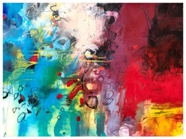 """acrylic, ink, oil pastel, pencil on paper   22"""" x 30""""   $795"""
