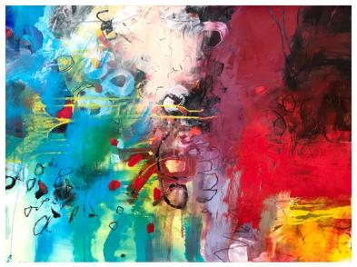 "acrylic, ink, oil pastel, pencil on paper | 22"" x 30"" 
