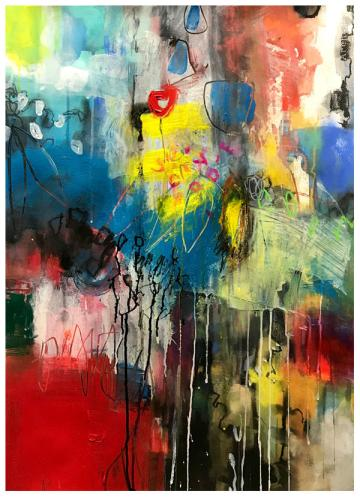 """acrylic, pencil, ink, watercolor on paper   30"""" x 22""""   $795"""