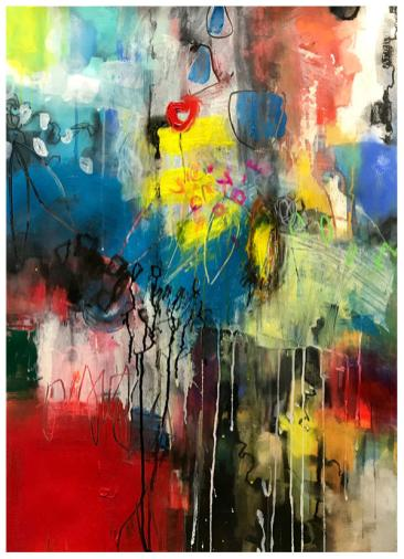 "acrylic, pencil, ink, watercolor on paper | 30"" x 22"" 
