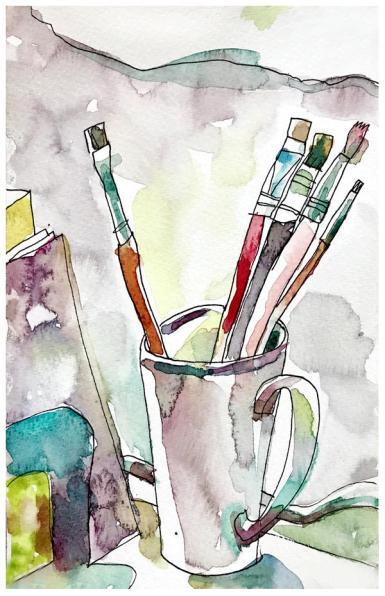 "watercolor, pen on paper   8.5"" x 5.5""   $60"