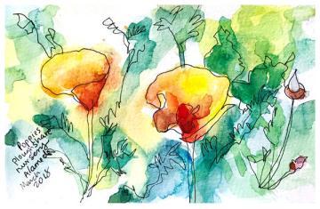 "watercolor, pen on paper   5"" x 8   $50"