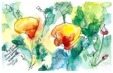 """watercolor, pen on paper   5"""" x 8   SOLD"""