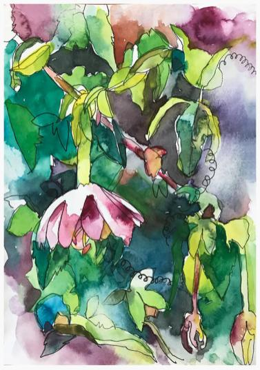 """watercolor, pen on paper   8"""" x 6""""   SOLD"""