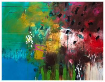 "acrylic, oil pastel on canvas | 43"" x 55"" 