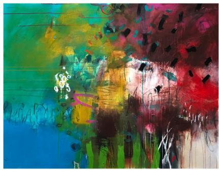 "acrylic, oil pastel on canvas   43"" x 55""   $3075"