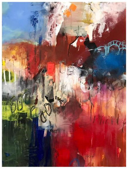 """watercolor, acrylic, pencil, oil pastel on paper   30"""" x 22""""   $795"""