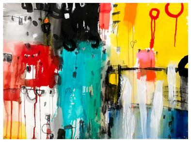 "watercolor, acrylic, pencil, pastel on paper | 22"" x 30"" | $795"