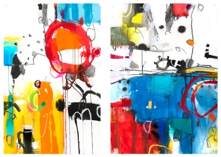 """watercolor, acrylic, pencil, pastel on paper   22"""" x 30"""" (2 paintings; each is 22 x 15)   SOLD"""