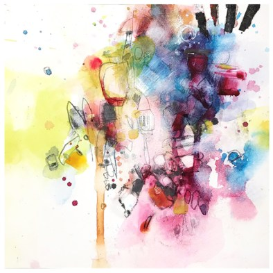"watercolor, pen, pencil, collage on aquabord | 8"" x 8"" | $75"