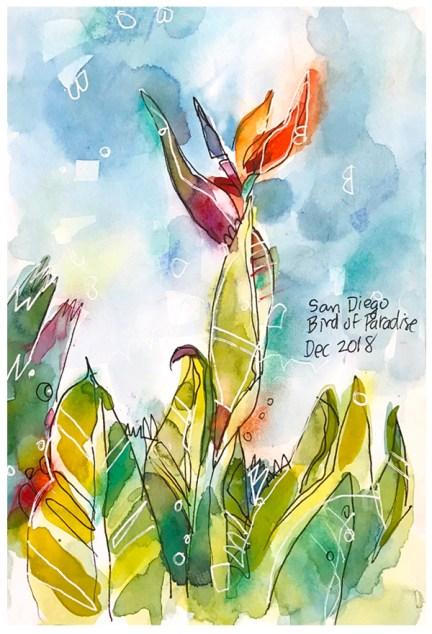 """watercolor, pen, pastel on paper   8"""" x 6""""   $60"""