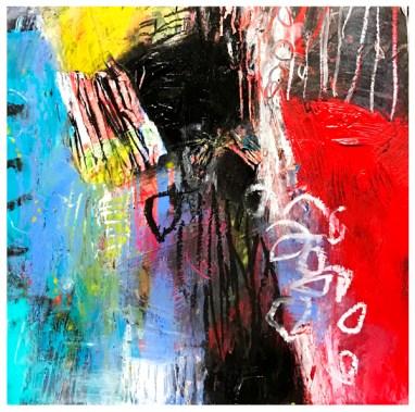 "acrylic, oil pastel on claybord   8"" x 8""   $75"