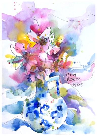 "watercolor, pen on paper   10"" x 7""   $90"