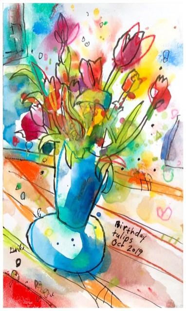 """watercolor, pen, pastel on paper   10"""" x 7""""   $90"""