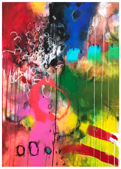 """acrylic, oil pastel, pencil on stretched canvas 