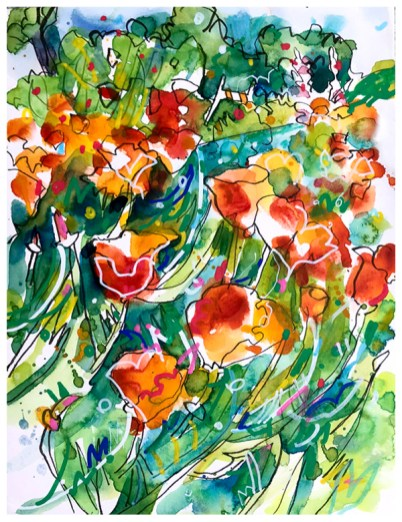 "watercolor, pen, pastel pencil, acrylic pen on paper | 10"" x 7"""