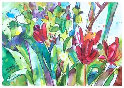 "watercolor, pen, pastel pencil on paper | 7"" x 10"" | SOLD"