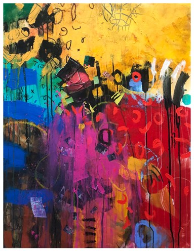 """acrylic, collage, pencil, oil pastel on unstretched canvas 