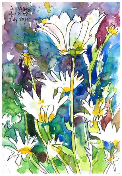 """watercolor, pen on paper   10"""" x 7""""   SOLD"""