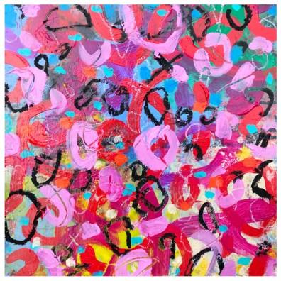 "acrylic, pencil, oil pastel crayon on claybord | 12"" x 12"" | $185"