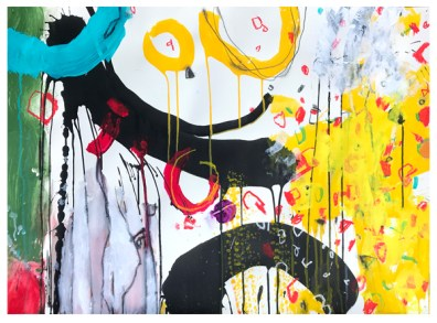 "acrylic, India ink, crayon, pencil on paper | 22""h x 30""w 