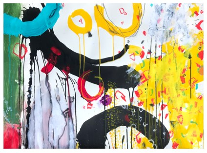 """acrylic, India ink, crayon, pencil on paper 
