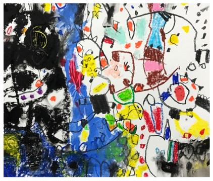 "pencil, oil pastel, crayon on paper | 15.5"" x 18"" | $360"