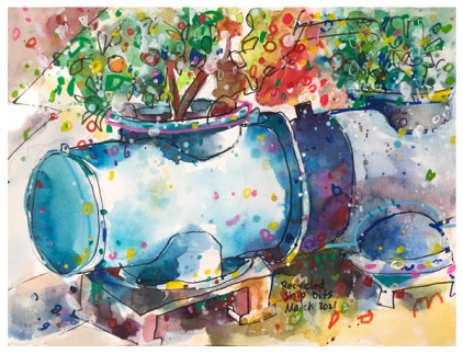 watercolor painting of recycled flower pots by emily weil