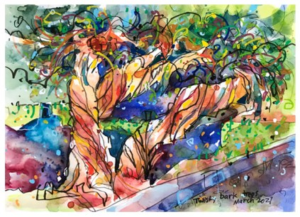 watercolor painting of trees by emily weil