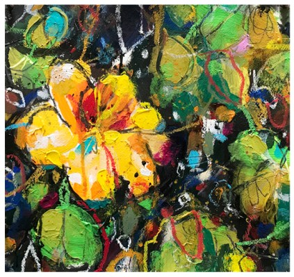 watercolor painting of nasturtium by emily weil