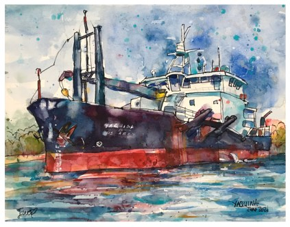 watercolor of US Army Corps of engineers ship the Yaquina