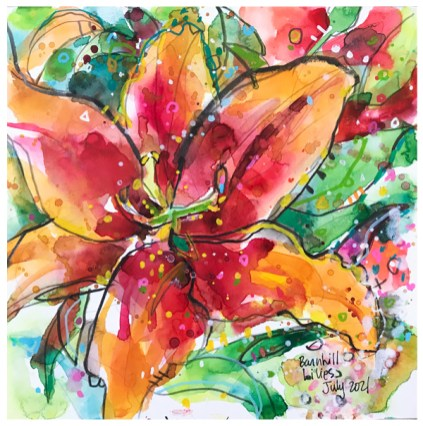 watercolor of lilies by emily weil