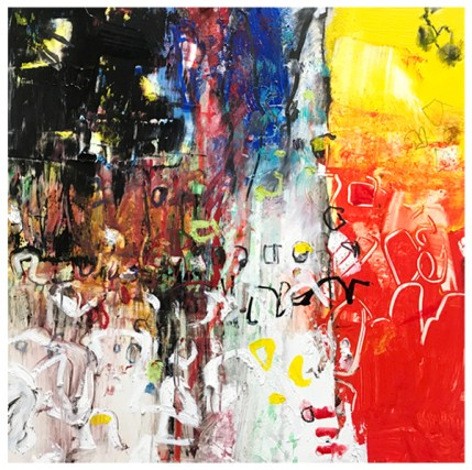 "acrylic, pencil, oil pastel on claybord   12"" x 12""   SOLD"