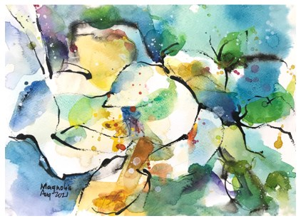 watercolor and ink painting of magnolia by emily weil