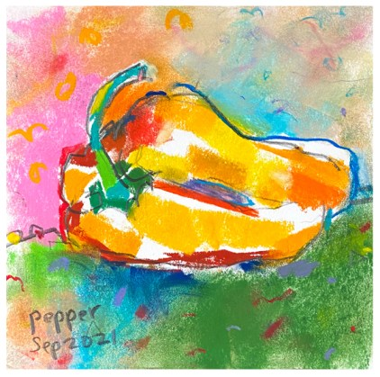 pastel, pencil drawing of yellow pepper of by emily weil