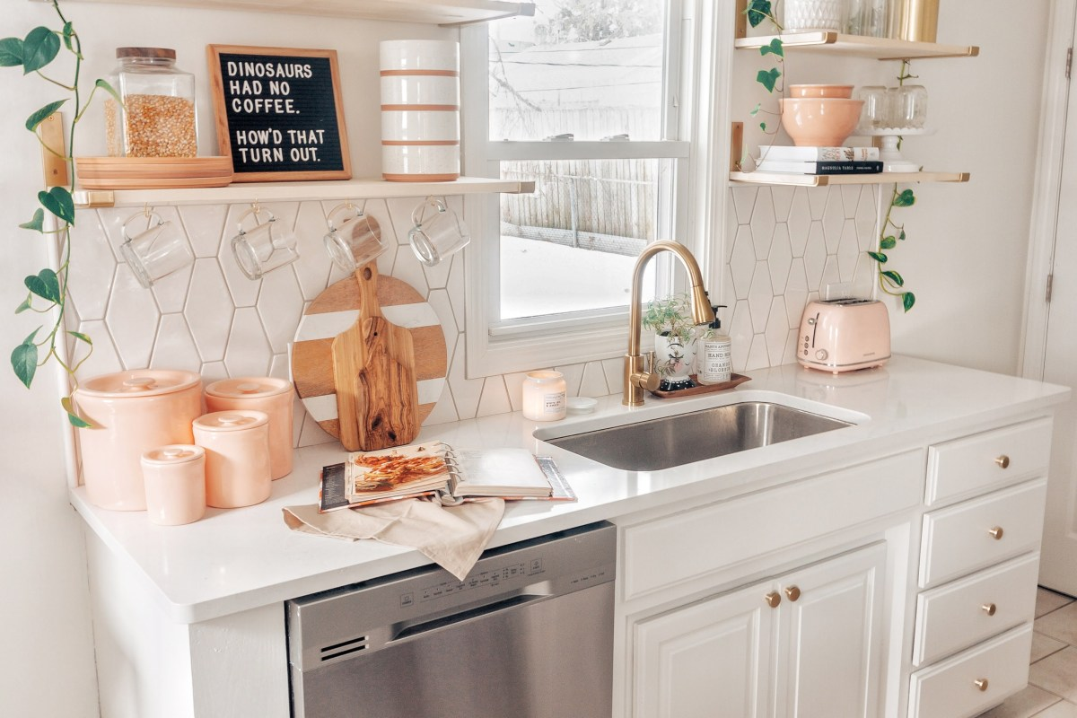 boho white kitchen makeover