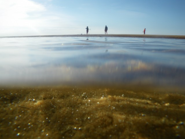 Sparkling sand at low tide and Cynthia, Michael, and Brian playing croquet on a sandbar, Brewster, MA, 2015. Taken with a Pentax Optio W60.