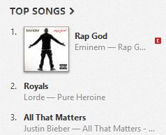 Eminem - Rap God # 1 in iTunes (U.S.)